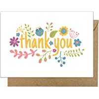 10 Recycled Simple Bright Flower Thank You Cards…