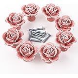 Auped - Pomelli in ceramica a forma di rosa, stile vintage, per porte, cassetti, armadietti e cassetti, con vite per…