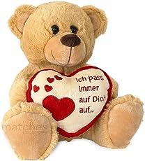 matches21 Teddybär mit Herz Ich Pass auf Dich auf Hellbraun / Beige 25 cm Geschenk Klassiker Partner Freundin Valentinstag