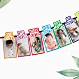 SYGA 1 to 12 Month Rainbow Baby and Couple Banner with Front Side Photo Space & Sweet Memory Writing Space Back Side of Banne