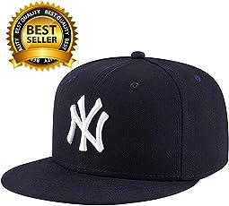 Hashtag Solid Ny White Hip Hop Cap Boy's Cotton Snapback Baseball (Black & White)