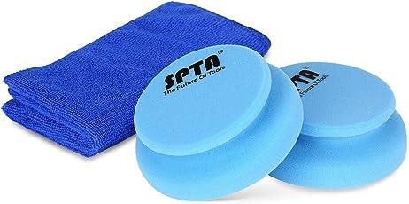 SPTA Auto Profi Handpolierschwamm Kit, 2 Stück 100 x 120mm Applikator Hand Pads mit umgebenden Griff & 1Pcs Reinigungstuch für Wachsen, Polieren, Lackreinigung, statt Poliermaschine