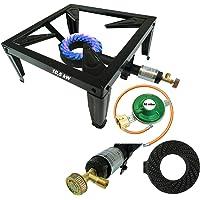 CAGO 4 Fuss Turbo 10,5 kW Gas Hockerkocher Gasdruckregler Räucherofen Gasbrenner