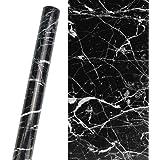 KBNIAN Zwart marmeren papier, PVC waterdicht marmeren meubilair zelfklevend papier zelfklevend behang meubels renovatie stick