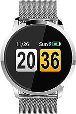 Smartwatch Fitness Tracker Herzfrequenz Bluetooth Blutdruck IP67 Wasserdicht Sport Outdoor Damen Herren Edelstahl Armband Rosegold Schwarz Silber