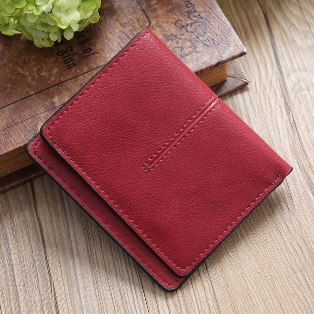 ever popular sale popular brand Porte-monnaie femme ❤ Grande Capacité Lady en cuir Portefeuille ❤ Simple  Retro Porte-cartes (Red)