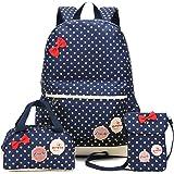 MCUILEE® Conjunto de 3 Polka Dot mochilas escolares/escolares bolsas/mochila niños niñas adolescentes + mini bolso + bolso cr