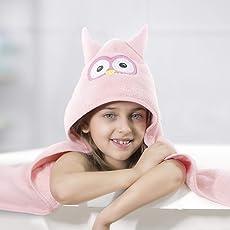 Rabitat Kids Hooded Bath Towel Super Soft Made with Zero Twist Cotton (Pink Owl)