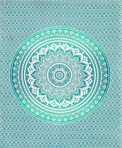 SheetKart Traditional Ombre Mandala Printed 144 TC Cotton Double Bedsheet with 2 Pillow Covers - King Size, Green