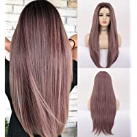 VEBONNY Aesthetic Hair Ombre Brown to Lavender Wigs Long Synthetic Lace Front Wig for Women Purple Hair Glueless Wigs 22…