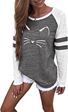 Langarmshirt Damen Blusen Katze Druck T-Shirt Pullover Frauen Sweatshirt Langarm Tops Bluse Bluseshirt Oberteile Langarm T-Shirt,ABsoar