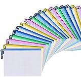 20 Pcs A5 Zipper File Sacs Document Étanche Sac Fort Comme Un Paquet De Projet Portefeuille En Plastique Pochettes Avec Ferme
