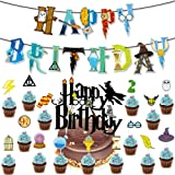 Wizard Inspired Cupcake Toppers BETOY 17PCS Cupcake Toppers cumpleaños Decoracion de Fiesta Mago Estandarte de cumpleaños
