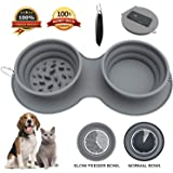 Aibada Ciotola per Cani Pieghevole Doppia, Ciotola per Cani Portatile Senza Silicone BPA per Alimenti, Tazza Pieghevole per A