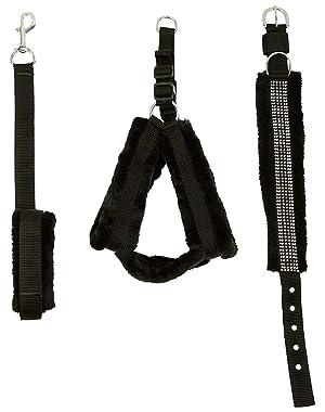 Skora Nylon Black Fur .75 inch Small Dog Harness|Dog Collar & Leash (Chest Size : 25-28 inch)