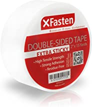 XFasten Extra Sticky Double-Sided Tape, White, 2-inch x 15-Yard, Extreme Bonding for Anti-Scratch Cat Training Tape, Rug to C