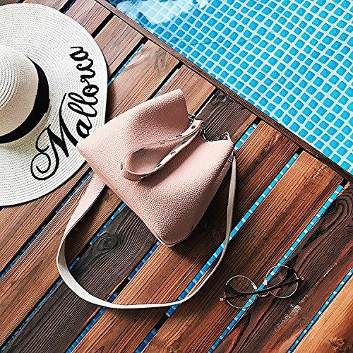 Damen-Tasche Einfache Eimer Tasche Mode Schulter Messenger Bag Handtasche Rosa