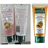 Biotique Bio White Advanced Fairness Face Wash, 150ml & Biotique Bio Papaya Revitalizing Tan Removal Scrub, 50g