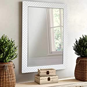 Art Street Decorative Wall Mirror Marble Finish for Home and Bathroom - 15X21 Inchs, Color -White