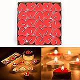 Txyk 50 candele amore galleggiante senza fumo candele romantico moderno Rosso a forma di cuore