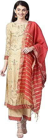INDO ERA Women's Cotton Blend Solid Straight Kurta Palazzo With Dupatta Set(IE27KS9OL1495_P)