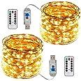 ACDE 2 Pièces Guirlande Lumineuses USB Alimentées 10M/100 LED avec Télécommande pour Décoration Noël Jardin Extérieure Intéri