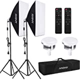 Andoer Softbox Kit, Iluminación Fotográfica Equipo con 85W 2800K-5700K Luz LED de Temperatura de Bicolor, Softbox de 50x70cm,
