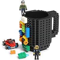 Build-on Brick Coffee Mug, Funny DIY Novelty Cup with Building Blocks Creative Gift for Kids Men Women Xmas Birthday…