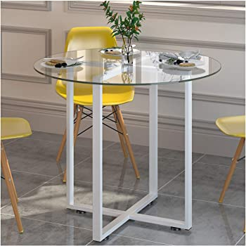b50846e04352 Cherry Tree Furniture CTF LEROY Round Clear Glass Dining Table with White  Steel Frame