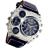 Lancardo, orologio da polso analogico, da uomo, stile Steampunk, cinturino nero in pelle, quattro sub-quadranti