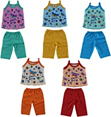 Vinab Cotton Dress Set For Babies (12 To 18 Months,Pack Of 5)
