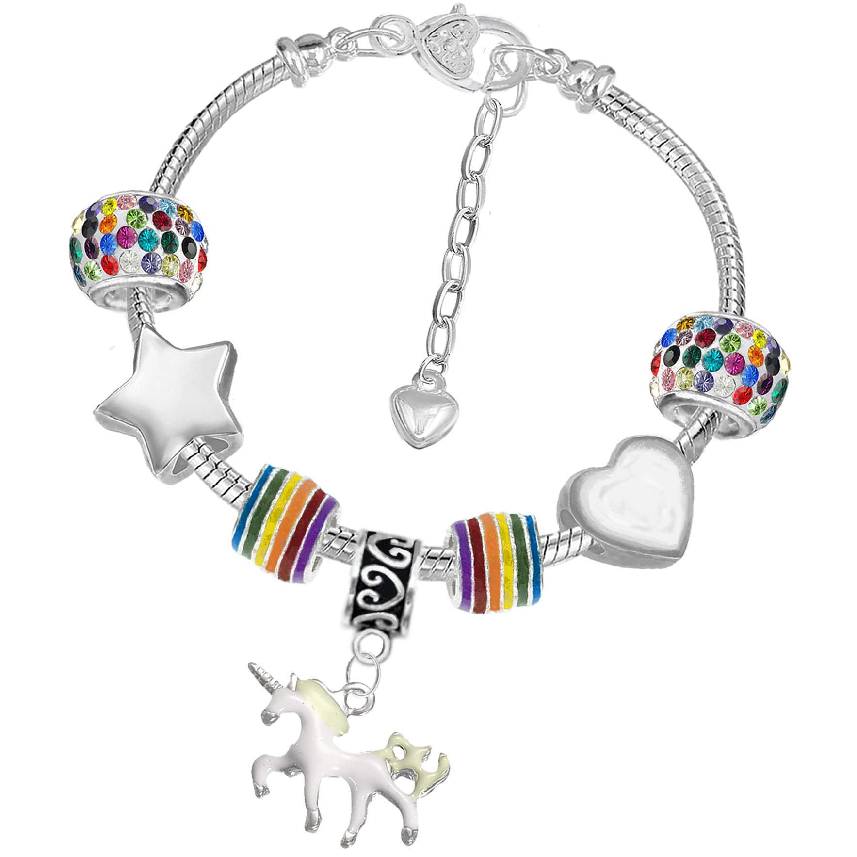 Girls Magical Unicorn Braided Leather Birthday Charm Bracelet with Gift Box