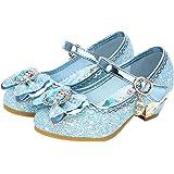YOSICIL Disfraz Princesa Zapatos Frozen Elsa Zapatos de Lentejuelas Antideslizante Niñas Zapatos de Tacón Velcro Zapatillas d