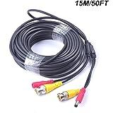 Cocar 50FT 15M All-in-One BNC Vídeo Extensión Cable con Conector CC Alimentación para Cámaras de Seguridad Inicio de Vigilanc