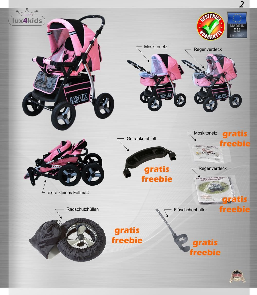 Lux4Kids Magnum Pram & Pushchair (raincover, mosquito net, cup holder, changing pad) 66 Beige & Diamonds  Buggy accessories - Offer all included - 3 free items - More about www.youtube.com/Lux4Kids Solid steel construction, adjustable handlebar height, hood / hood adjustable, buggy converts to pram. Made in EU (DIN EN1888 / 2005) 4