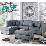 Furny Brenna 5 Seater L Shape LHS Sofa (Grey)