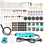walmeck 228-Piece Rotary Tool Accessories Kit with Flex Shaft Electric Grinder Drill 6-Speed Variable Speed Cutting...