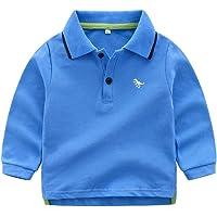 BOBORA Polo Bébé Garçon, T-Shirt Chemise Polo à Manches Longues avec Broderies de Dinosaures pour Bébé Garçons 0-3Ans