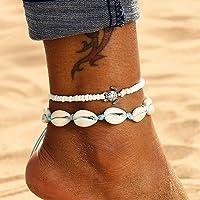 Edary Boho Set di cavigliere conchiglia doppia Ciondolo tartaruga bianco Braccialetti alla caviglia Catena di piedi in…