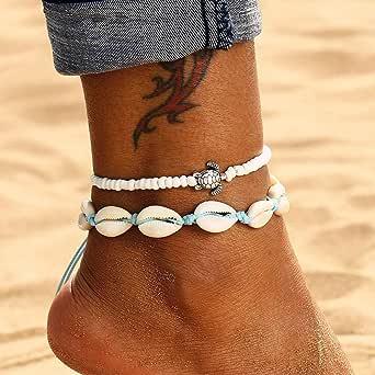 Edary Boho Set di cavigliere conchiglia doppia Ciondolo tartaruga bianco Braccialetti alla caviglia Catena di piedi in rilievo Accessori per gioielli da spiaggia Piede da spiaggia per donne e ragazze