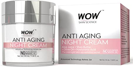 WOW Anti Aging No Parabens and Mineral Oil Night Cream, 50ml