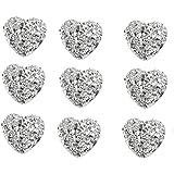 40 x Hartvormige Zilveren Edelstenen 12mm Platte Rug Hars Versieringen voor Ambachten