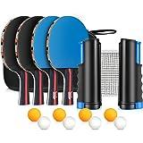 XDDIAS Set da Ping Pong, Istantanee Racchette da Ping Pong Racket, 4 Racchetta/Pagaia + 8 Palline/Sfere + 1 Regolabile…