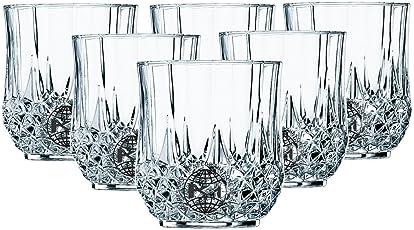 King International Stainless Steel Crystal Glass Heavy Base Round Whiskey Glasses Set of 6 | 350 ml Drinking Glasses