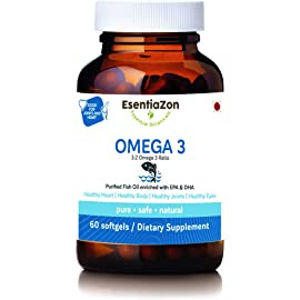 EsentiaZon Omega 3 Fish Oil Triple Strength 1000mg  300mg EPA, 200mg DHA    60 Softgels
