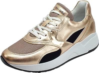 Nero Giardini E010610D Laminato Phard Specchio Sneakers Donna in Pelle Lacci Lampo Zeppa Media