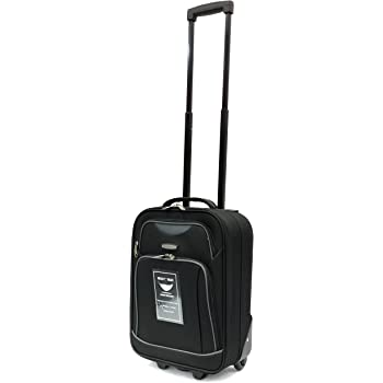 "Ryanair and EasyJet Lightweight Cabin Approved Hard Wearing and Light Weight Trolley Wheeled Luggage Bag (17 inch fits within 50 x 40 x 20 & 21 inch 55 x 40 x 20) (17"", Black MM23)"