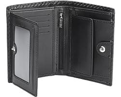 Portefeuille Homme Cuir Porte-Monnaie RFID/NFC Blocage 1 Grand Compartiment de sécurité zippé, 9 Porte Carte Crédits, 2 Compa
