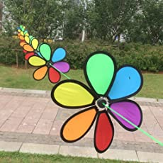 MagiDeal 10m Fordable Rainbow Flower Windmill String Whirligig Wheels Garden Camping Decoration