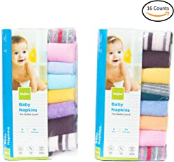 Baybee Premium Quality Baby Cotton Washcloths | Napkin Hankies for New Borns Soft Cotton Face Towels Unisex ( Random Colors ) Pack of